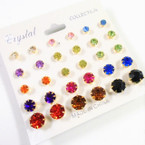 15 Pair Asst Color Crystal Ball Earrings Gold Frame .54 per set