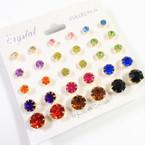 15 Pair Asst Color Crystal Ball Earrings Gold Frame .54 per set