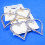 "1.5"" Gold & Silver Heart Crystal Stone Earrings .54 each"