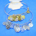 Gold & Silver  Wire Bangle w/ St. Benito Charms   .54 each