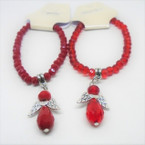 Beaded Stretch Bracelet w/  Crystal Stone Angel Charm All Red  .56  ea