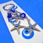 Triple Starfish Evil Eye Dangle Keychains  .56 each