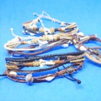 New Multi Cord Shark Tooth & Shell Fashion Bracelets 12 per card .65 each