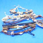 New Multi Cord Shark Tooth & Shell Fashion Bracelets 12 per card .65 each