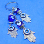 Triple Hamsa Evil Eye Bead Dangle Keychains  .56 each
