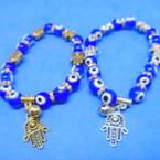 Gold/Silver Hamsa & Evil Eye Bead Bracelets  .54 ea