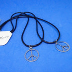 "2 Pack 16-18"" Black Cord Necklace w/ Silver Peace Sign .60 per set"