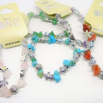 Chip Stone & Silver Turtle Stretch Bracelets Asst Colors  .54 ea