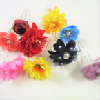 "SPECIAL 3"" Hair Stick w/ Flower 7 Asst Styles 84 pcs per pk  .25 each"