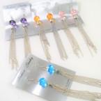 "4"" Long Silver Chain Fashion Earring w/ Crystal Bead Top .50 ea"