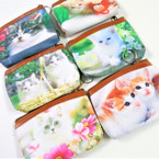 "Too Cute 4"" X 5"" Cat Theme Zipper DBL Sided Coin Purses 12 per pk .58 each"