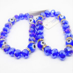 Big 8MM Blue Crystal Bead & Eye Stretch Bracelets .56 each