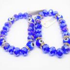Big 8MM Blue Crystal Bead & Eye Stretch Bracelets .56 each