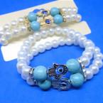 DBL Row Glass Pearl Bracelets w/ Turq. Bead & Hamsa .56 ea