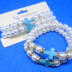 DBL Row Glass Pearl Bracelets w/ Turq. Cross & Mini Crystals .56 ea