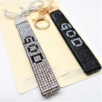 DBL Sided Crystal Stone Strap Keychains w/ Clip GOD Saying .58 ea