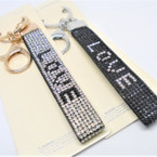 DBL Sided Crystal Stone Strap Keychains w/ Clip LOVE Saying .60 ea