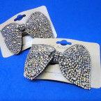 "3"" Bow Style Barrette w/ Clear Crystal Stones .54 ea"