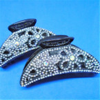 "3.25"" Black Jaw Clip w/ DBL Sided Crystal Stones  .56 ea"