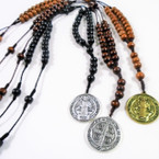 "30"" Wood Beaded Rosary w/ DBL Sided St. Benito Pendant  12 per pk .54 ea"