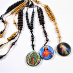 "30"" Wood Beaded Rosary w/ DBL Sided Round Saint Pendant  12 per pk .54 ea"
