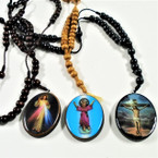 "30"" Wood Beaded Rosary w/ DBL Sided Oval Saint Pendant  12 per pk .58ea"