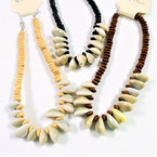 "12""-14"" Kids Wood Neck Necklace w/ Cowrie Shells 3 colors 12 per pk .54 each"