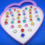 Kid's Crystal Stone Fashion Rings 36 pc box (985) .21 each