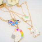 Gold Chain Neck Set w/ MIxed Style Unicorn Pendants .54 ea