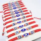 Handmade Red Macrame Bracelets w/ Blue Eye Beads & Crystal Stones 12 per pk  .54 ea