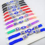 Asst Color Macrame Bracelets w/ Blue Eye Beads & Crystal Stones 12 per pk  .54 ea