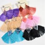 """2.5""""  Fan Style Tassel Earrings w/ Marble Top .54 ea"""