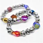 Best Buy Silver Metallic Bead Crystal Stretch Bracelets Only 12 per pk .54 ea