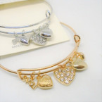 Gold & Silver  Wire Bangle w/ Mixed Heart  Charms   .54 each