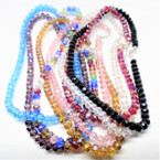 "BEST BUY 16-18"" 6MM Crystal Bead Necklaces 12 per pk Only   .65 ea"