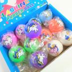 """2.5"""" Asst Color Unicorn Theme Light Up Rubber Balls 12 per bx .58 ea"""