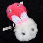 "3"" Faux Fur Bunny Fury Keychains w/ Sparkle Ears 12 per pk .58 ea"