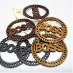 "2.75"" Woodtone Color BOSS Fashion Wood Earrings .54 ea"