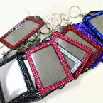 "4"" Acrylic Stone Keychain w/ Clip ID Badge Holder 12 per pk .56 each"