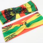 "3"" Wide Rasta Theme Stretch Headbands w/ Knot Center 2 styles .54 ea"