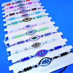 Cord Beaded Fashion Bracelet w/ Flower Eye Charm 12 per card .54 ea