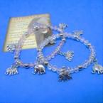 Crystal Beaded Bracelet w/ Silver Elephant Charms  .54 each