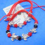 Beaded Red Macrame Bracelets w/ Silver Turtle Charms .54 ea