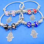 Silver Spring Style Bracelet w/ Glass Beads & Silver Hamsa .54 ea