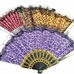 """9"""" Asst Color Leopard Pattern Lace Hand Fans 12 per pk .54 ea"""