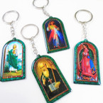 "2.5"" Metal Hologram Mixed Saint Picture Keychains 12 per pk .54 ea"