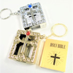 "1.5"" Gold & Silver Bible  Keychains 12 per pk .54 ea"