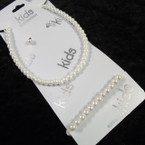 Kid's  White Glass Pearl Necklace & Bracelet Set  .54