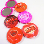 "3"" LOVE Theme Print Round DBL Compact Mirror .56 each"