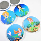 "3"" Mermaid Theme Print Round DBL Compact Mirror .56 each"